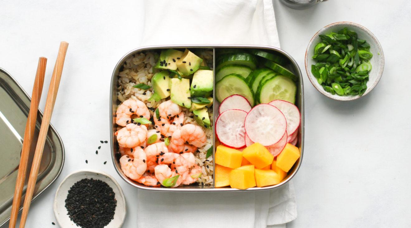 Prawn, mango and avocado poke bowls