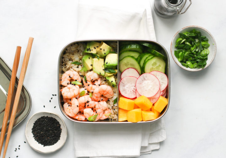 Prawn, mango and avocado poke bowls